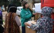 Concern staff member Amani Sahmarani distributes emergency supplies in Lebanon. Photo: Concern Worldwide.