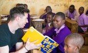 Dublin GAA Player, Michael Darragh Macauley working with students during a lesson in M.M Chandaria school in Nairobi, Kenya.  Picture: Steve De Neef / Concern Worldwide.
