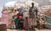 Safi Abdi Osan outside her home in Carracad,