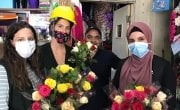 Concern staff Amani, Pauline and Sanaa buying flowers to distribute alongside the dignity and shelter kits to support the local community affected by the Beirut blast.Lebanon Photo: Pauline Coste / Concern Worldwide