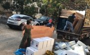 Concern team distributing shelter kits  to communities affected by the blast. Photo: Pauline Coste / Concern Worldwide