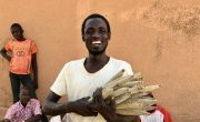 37-year-old Mika Abdu proudly displays some of his short-season millet crop, grown from seeds supplied by Concern.
