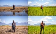 Before and After: Patrick Ghembo in front of his destroyed crops in the aftermath of Cyclone Idai, and one year later when his crops have recovered.
