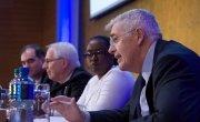 Concern Worldwide CEO Dominic MacSorley speaks at the Irish Humanitarian Summit. Photograph taken by UCD CHA.