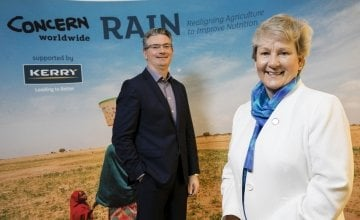 Kerry Group Chief Executive, Edmond Scanlon, and Concern's International Programmes Director, Anne O'Mahony. Photo: Concern Worldwide.