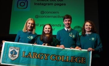 Concern Debates winners Largy College from left Abigail McGuirk, Ruth Madden (captain), Aaron McMahon, Carla Rafferty. Photo: Concern Worldwide.
