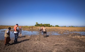 Concern staff wade through water logged fields destroyed by flooding. Just one month ago, these fields were almost ready to harvest with a rich supply of maize. Photo: Gavin Douglas/ Concern Worldwide.