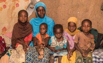 Rouaya Zahirou with her five children - Naria, Sabira, Illwane, Chamsiya and Salouhou.