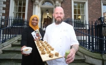 Amina Abdulla, Concern Country Director for Kenya with Conor Spacey, Culinary Director with FoodSpace showing off the sustinable breakfast FoodSpace prepared for the launch of the 2019 Global Hunger Index.