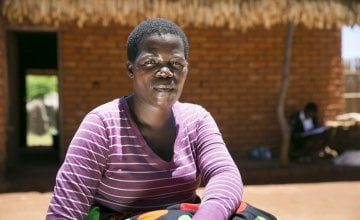 Stawa James at her new home in the village of Chituke in Malawi.