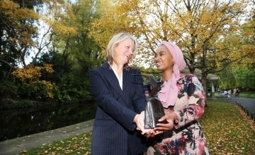 Sinéad McSweeney, Managing Director of Twitter Dublin and keynote speaker Amina Abdulla, Country Director, Concern Kenya.