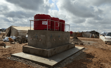 Water distribution point in a camp in Syria, 2019