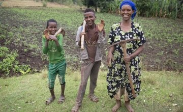 Mestawat Sorsa, pictured with her sons Abinet and Zekiyos near their home in Ethiopia. Following the death of her husband 7 years ago she says the family struggled to survive. Photo: Kieran McConville / Concern Worldwide.