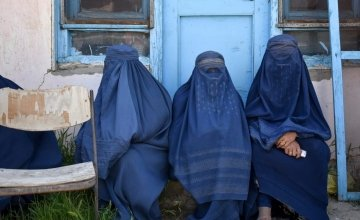 Women in Northeastern Afghanistan wait to receive humanitarian assistance. Photo: Concern Worldwide.