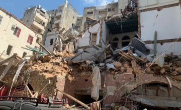 One of the damaged buildings in Beirut