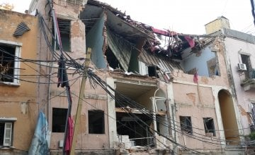 Scenes of destruction in Beirut after an explosion in early August 2020. Photo: Dom Hunt / Concern Worldwide.