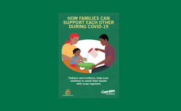 Messaging developed in Malawi promoting the gender equitable division of labour in Covid-19 prevention. Text says 'How families can support each other during Covi-19. Fathers and mothers, help your children to wash their hands with soap regularly.