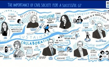 The importance of civil society for a successful G7 graphic. Image: @AlLallyFrancis