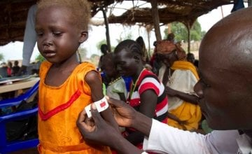 A malnourished child being treated at a primary care centre in South Sudan.