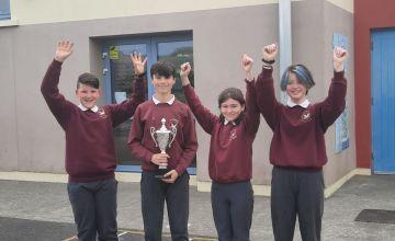L-R Conn McGettigan, 5th class, John Cannon, 6th class, Sadie McGettigan, 5th class and Orla Kearney, 5th class pupils from Scoil Cholmcille in Kilmacrennan, who won the inaugural Concern Primary Debates