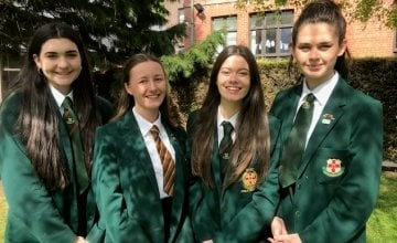 Left to right Holly Thompson, Eden Wilson, Alice Francey, Beth Eccles of the Friends' School Lisburn debating team who won the  Concern Debates Shield final