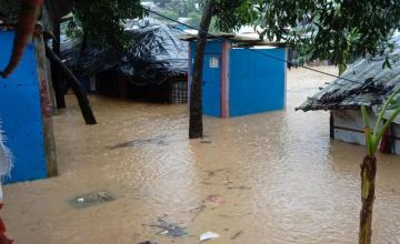 Cox's Bazaar is underwater in 2021 after heavy rainfall. Flooding and landslides developed at the Rohingya camp.