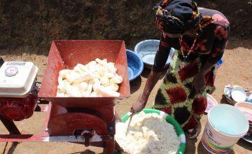 Cassava processing machine in Tonkolili District in Sierra Leone.