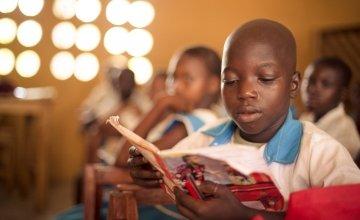 A pupil from Class 3, Baptist Primary School, Rowalla, Sierra Leone. Photo taken by Michael Duff/ Concern Worldwide.