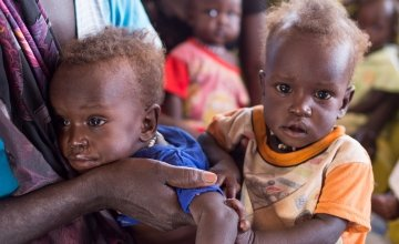 Twins Dit and Makur aged eight months at the Concern nutrition centre in the Protection of Civilians site at the UN base in Juba South Sudan. Both are severely malnourished and were referred to the centre by a community mobilizer. Photo: Kieran McConville/Concern Worldwide 2016
