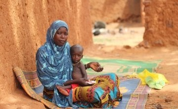 17-year-old Zarah with her son Youssouf who is currently suffering from severe malnutrition. Photo: Jennifer Nolan/Concern Worldwide.