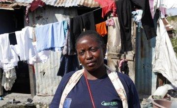 Community worker Ernancy Bienaimee in Cité Soleil, Port-au-Prince, Haiti. Photo: Kristin Myers / Concern Worldwide.