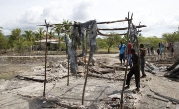 The remains of the François family home. The family lost all of their possessions after the wind and the rain caused their home to collapse. Photo: Kristin Myers / Concern Worldwide.