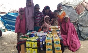 Jamilah* with her 7 children before she started her petty trade business. Photo: Ifrah Abdi Hussein/Concern Worldwide.