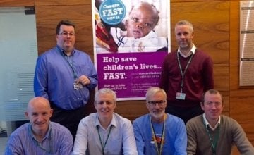 Aer Lingus fast participants John Green and Mark Queally (back row) and Paul Phelan, Rob Fogarty, Jim Durham and Paul Brodbin. Photo: Concern Worldwide.