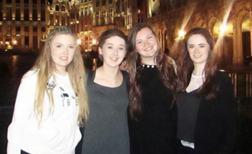Claire, Jennifer and their teammates on Concern Debates runners up trip to Brussels in 2016. L-R Claire Williams; Kate Moore; Jenny Gillen; and Lauren Boland