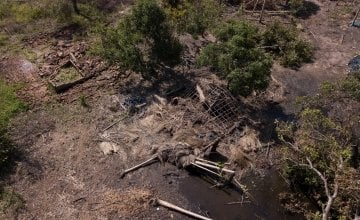 Houses destroyed by Cyclone Idai seen from above at Lamego in central Mozambique. Photo: Kieran McConville/Concern Worldwide.