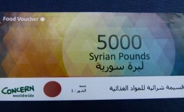 Example of the vouchers used to purchase basic food items. These food vouchers are distributed to Syrians by the Concern team and scanned by shop keepers using smartphones in the stores and markets. Photo: Concern Worldwide.