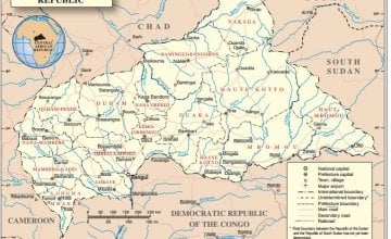Central African Republic map, courtesy of the United Nations.