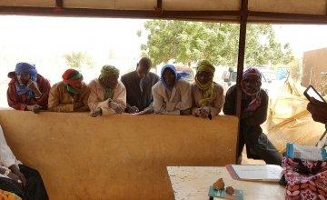 Community Health Volunteers congregate in Affala village, Niger. Photo: Ciara Hogan/Concern Worldwide.