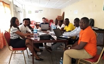 Carlos with data collectors and the Monitoring & Evaluation team. Photo: Concern Worldwide.