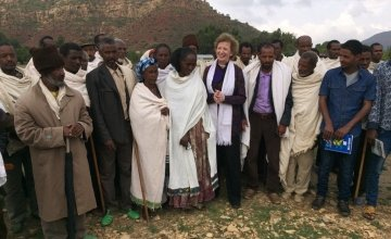 UN Special Envoy for El Niño and Climate Mary Robinson with farmers at Gergera Watershed supported by Irish Aid , the Irish Embassy in Ethiopia and Concern. Photo: Concern Worldwide.