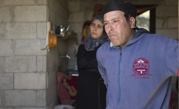 Omar* and his wife Fatimah*, who fled Syria as a result of the conflict, speak about their journey to a Concern rehabilitated shelter in northern Lebanon. Photo: Chantale Fahmi/Concern Worldwide 2017.
