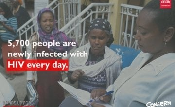 5,700 people are newly infected with HIV every day. Image: Concern Worldwide.