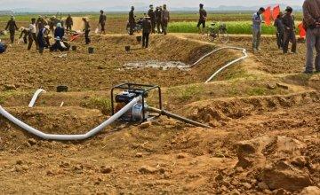 Local farmers watering and planting rice in fields in Unpa county, DPRK. Photo taken by Noel Moloney.