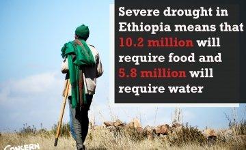 An Ethioipan farmer looks out over drought-stricken land. Credit: Eun Young Kim/Concern Worldwide.