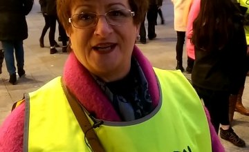 Carmel Hayes from Donabate was out on the streets of Dublin enthusiastically shaking her bucket for Concern FAST. Photo: Concern Worldwide.