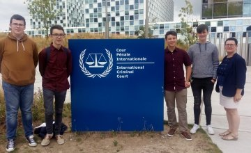 CBS Carlow debates team with teacher Claire O'Brien outside the International Criminal Court in The Hague. Photo: Concern Worldwide.