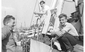 Karl Vekins saying farewell to his father, Dick Vekins, as he prepared to set sail for Biafra. Photo: Concern Worldwide