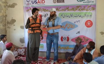 Men are trained in emergency response. Photo: Abdul Baqi / Concern Worldwide.