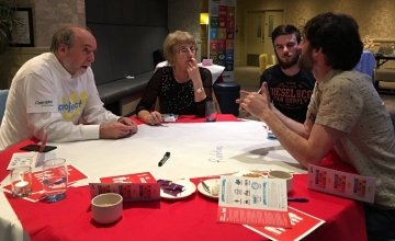 DIscussing poverty at the first Project Us coffee conversation in Galway. Photo: Aoife O'Grady/Concern Worldwide.